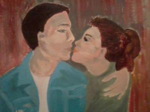 painting of the couple in love