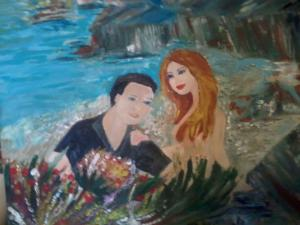 painting of a couple in flowers