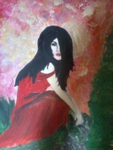 painting of a lonely girl