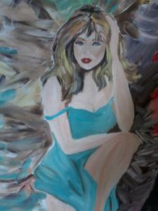 painting of a sad girl in blue dress