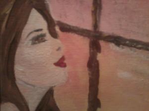 girl looking outside ,brown eyes