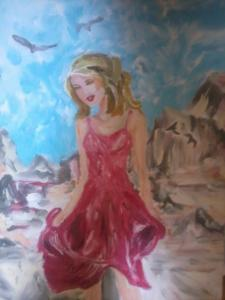 painting of a girl in red dress