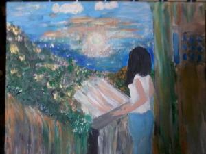 painting of a girl looking from the balcony